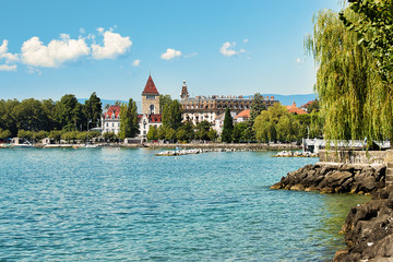 Chateau Ouchy at Lake Geneva promenade summer Lausanne