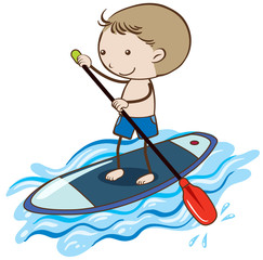 A Boy Stand Up Paddle Board