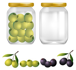 Green and Black Olives in Jar
