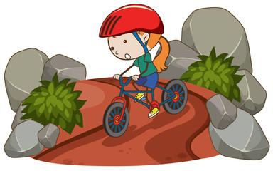 A Girl Riding Mountain Bike