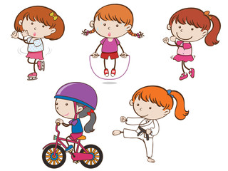 A Set of Girl Sport Activities