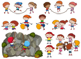 Kids and Activities on White Background