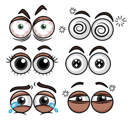 Human Eyes Expression on White Background