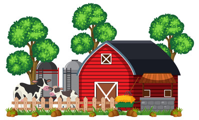 A Barn and Farm on White Background