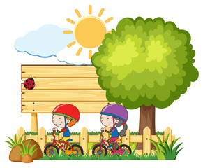 Kids Riding Bicycle in Sunny Day