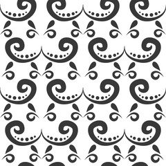 Floral seamless swirl mehendi flower pattern background ornament vector illustration textile style tribal ornate.