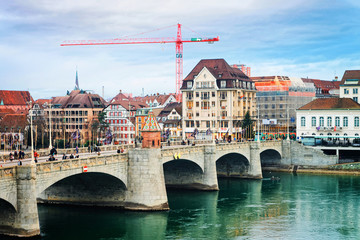 Waterfront of Central Rhine Bridge Old City Basel Switzerland