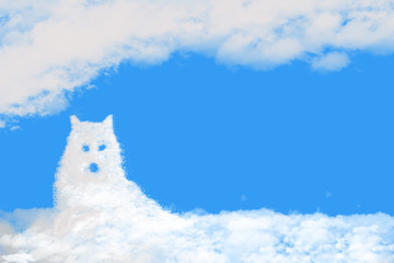 Clouds shaped wolf on blue sky