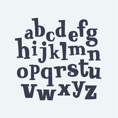 Hand drawn decorative vintage serif ABC letters