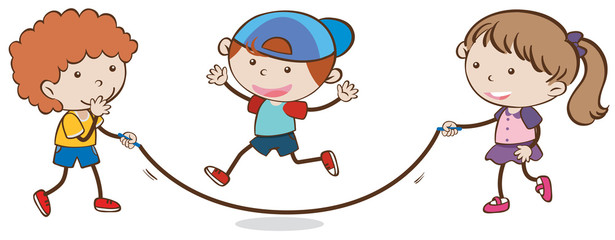 Kids Skipping Rope on White Background