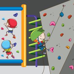 Children Having fun at Climbing Gym
