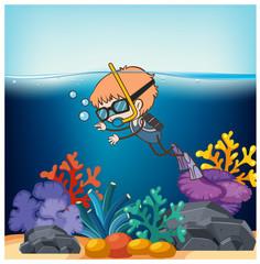 A boy Scuba Diving in Ocean