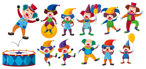 A Set of Clown on White Background