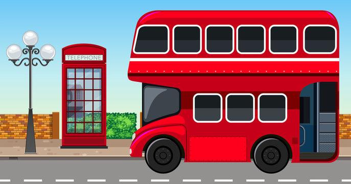 London Double Decker Bus in City
