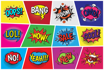 Spoed Fotobehang Pop Art Pop art comic vector speech cartoon bubbles in popart style with humor text boom or bang bubbling expression asrtistic comics shapes set isolated on background illustration