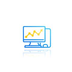 computer analysis, statistics vector icon