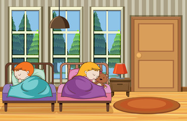 Boy and Girl Sleeping at Home