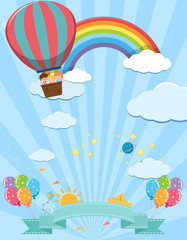 Cute Template with Kids on Hot Air Balloon