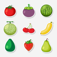 Fruits Sticker Set on White Background