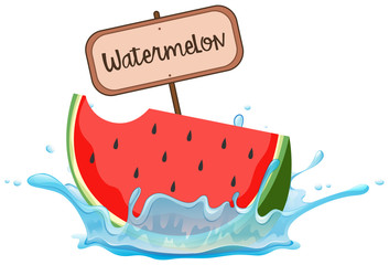 Watermelon and Sign on White Background