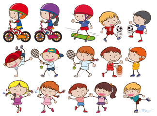 A Set of Doodle Kid Sport Activities