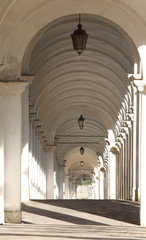 Vicenza Italy the long covered portico that leads to the sanctua