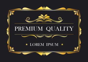 Premium quality. Certification card frame template. Vintage retro luxury design. Vector illustration