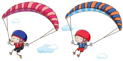 Doodle Kids Parachute on Sky