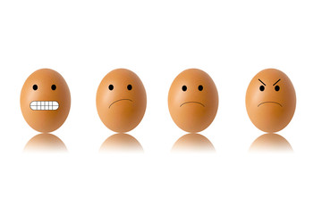 concept egg face on white background , angry 3D illustration