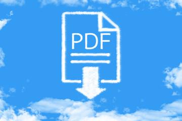 Clouds shaped pdf file on blue sky