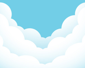 Flat design vector illustration of white clouds on blue sky - with copy space