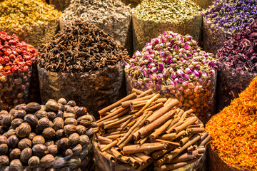 Closeup of fragrant oriental spices at spice market in Middle East