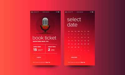 Book Ticket UX UI Screen For Mobile Phones with mic Illustration