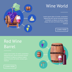 Wine World and Wooden Barrels Internet Pages Set