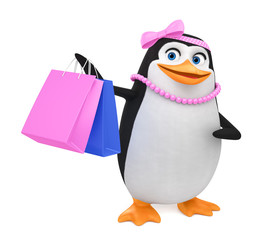 Cheerful penguin girl with shopping bags on a white background. 3d render illustration.