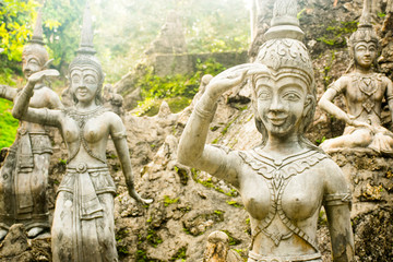 Statues at secret garden on the Koh Samui Island in Thailand