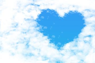hearts shape clouds , love concept on blue sky