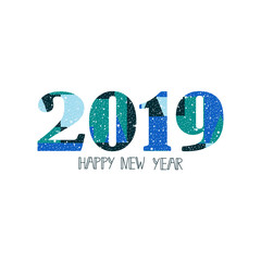 Happy New Year 2019 design elements for design of gift cards, brochures, flyers, posters. Lettering
