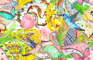 vintage seamless texture with bizarre ornament and hummingbirds. watercolor painting