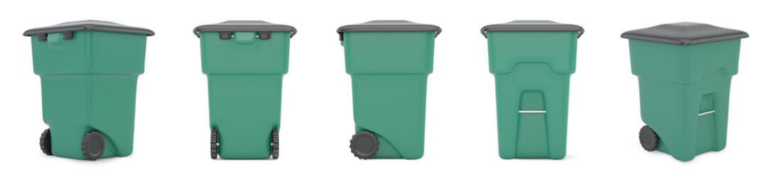 Set green plastic trash recycling container. 3d rendering.