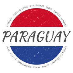 Paraguay grunge button