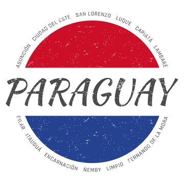Paraguay grunge button