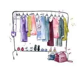 Clothes rail, watercolour illustration