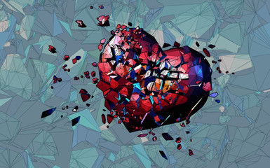 Stylized heart breaking illustration