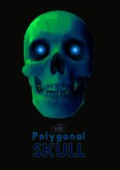 Polygonal green skull on black BG