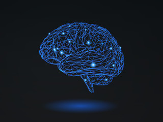Polygonal wireframe brain on dark space BG
