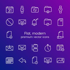Modern Simple Set of folder, time, files, email Vector outline Icons. Contains such Icons as alarm, deadline,  internet,  fashion, folder and more on gradient background. Fully Editable. Pixel Perfect