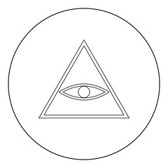 All seeing eye symbol icon black color in circle or round