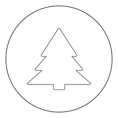 Christmas tree  icon black color in circle or round