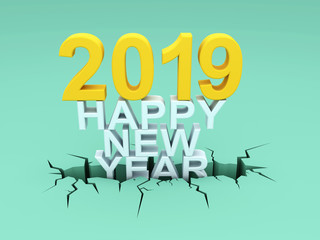 New Year 2019 - 3D Rendered Image